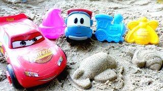 Игры для детей. Машинки мультики. Лева и Маквин в песочнице