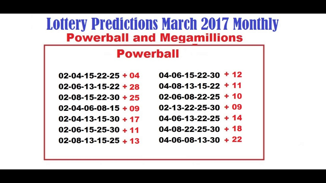 Lottery Predictions March 2017 Monthly - Powerball and ...