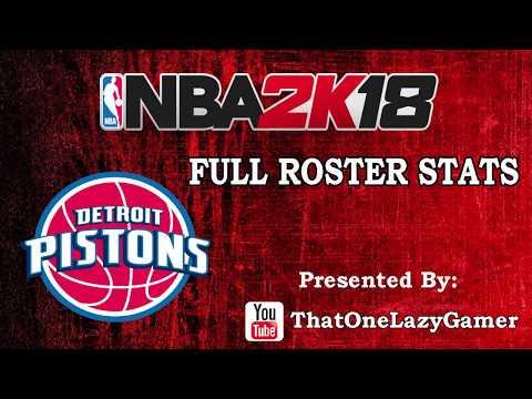 """NBA 2K18 """"Detroit Pistons"""" Full Roster stats"""