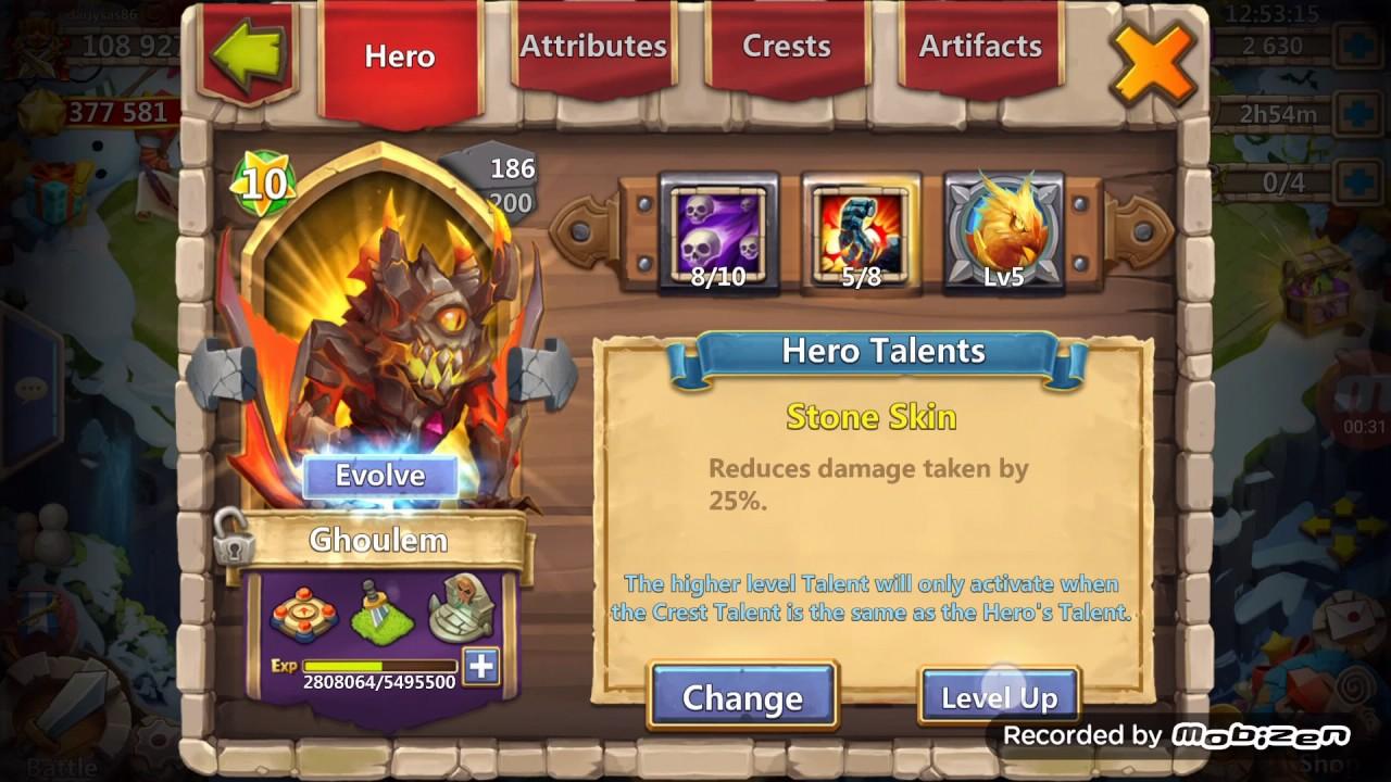 level up a talent castle clash
