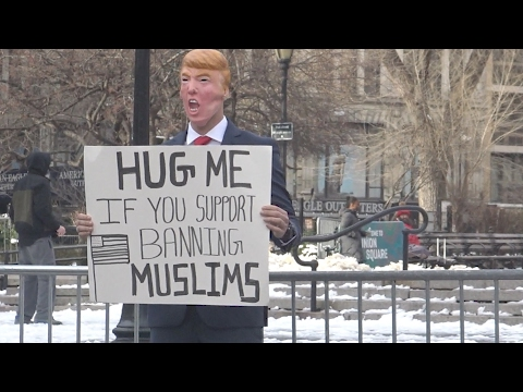 HUG ME IF YOU SUPPORT BANNING MUSLIMS!! (Social Experiment)
