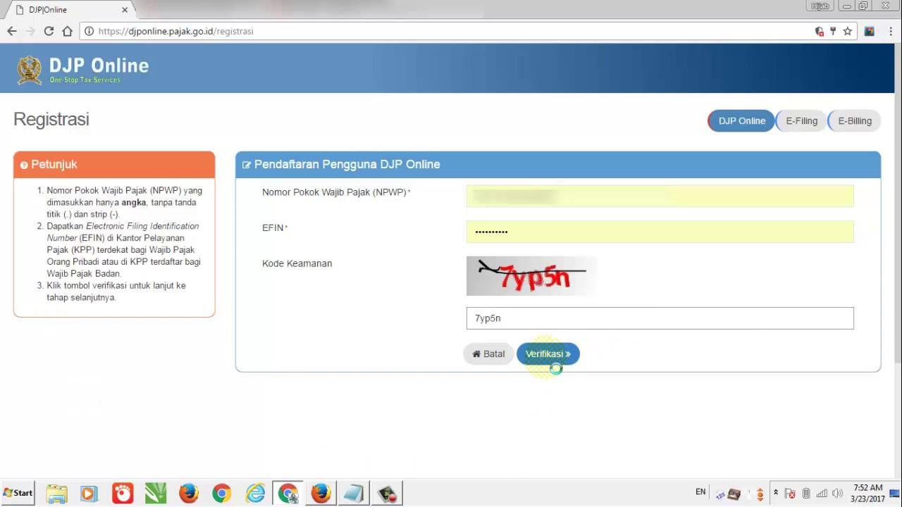 "Tutorial E-Filing 2017 ""Cara Registrasi DJP Online ..."