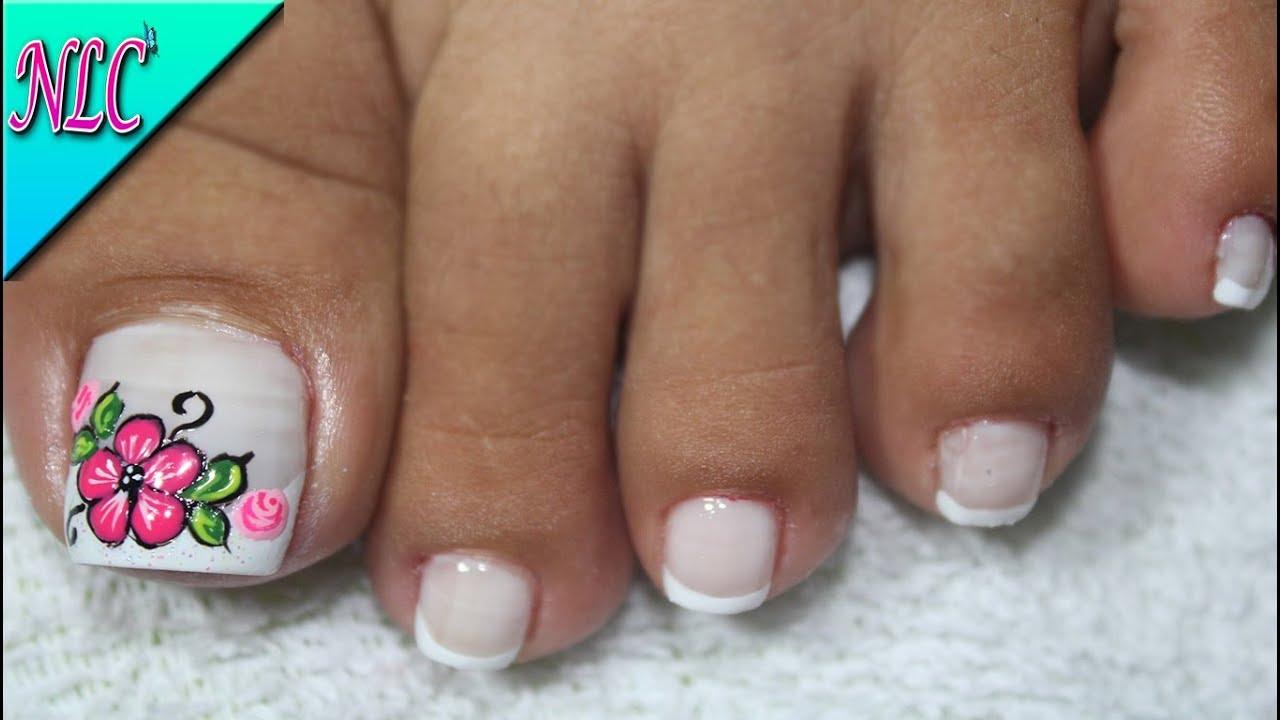 Modelo De Unas De Pies De Flores - decorados de uñas