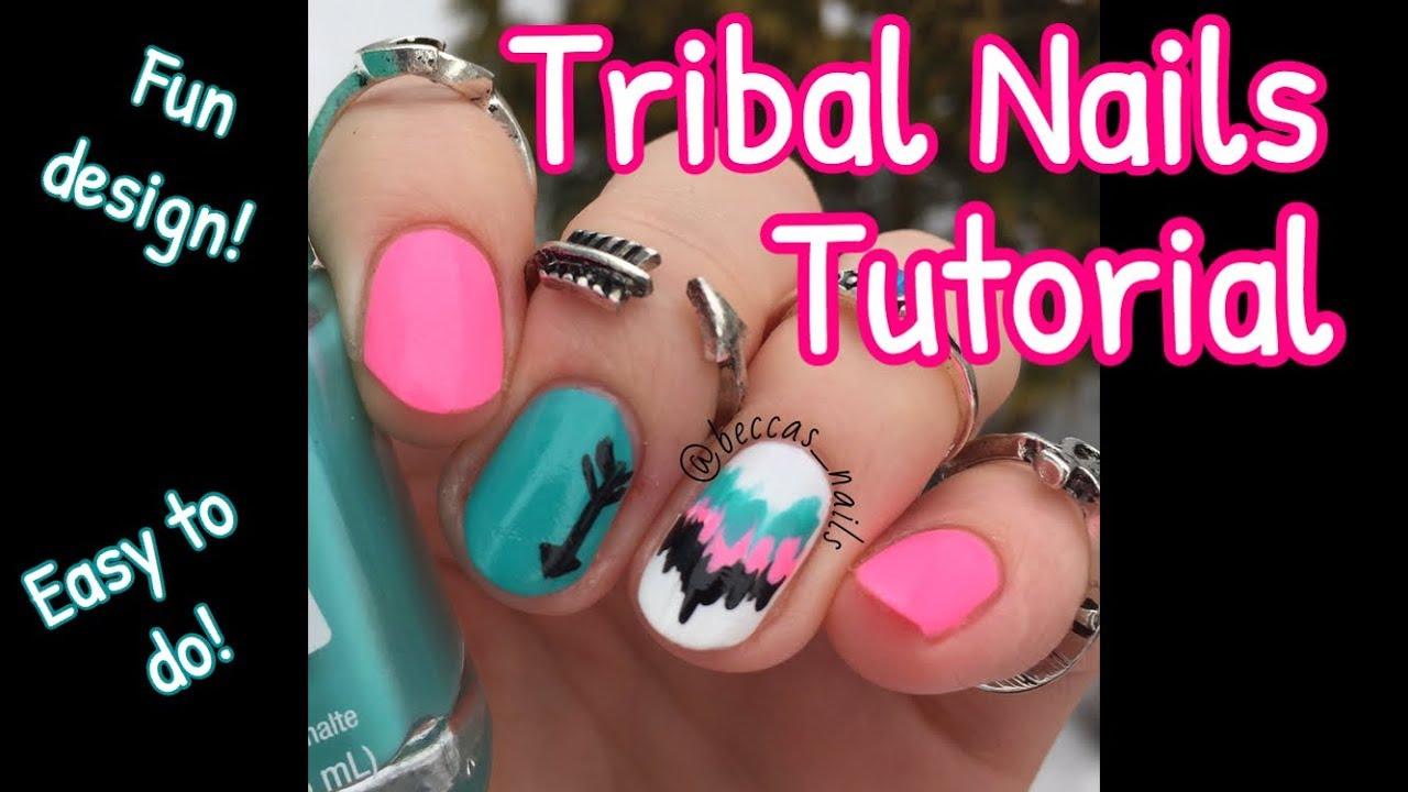 Tribal Nail Art Tutorial - YouTube