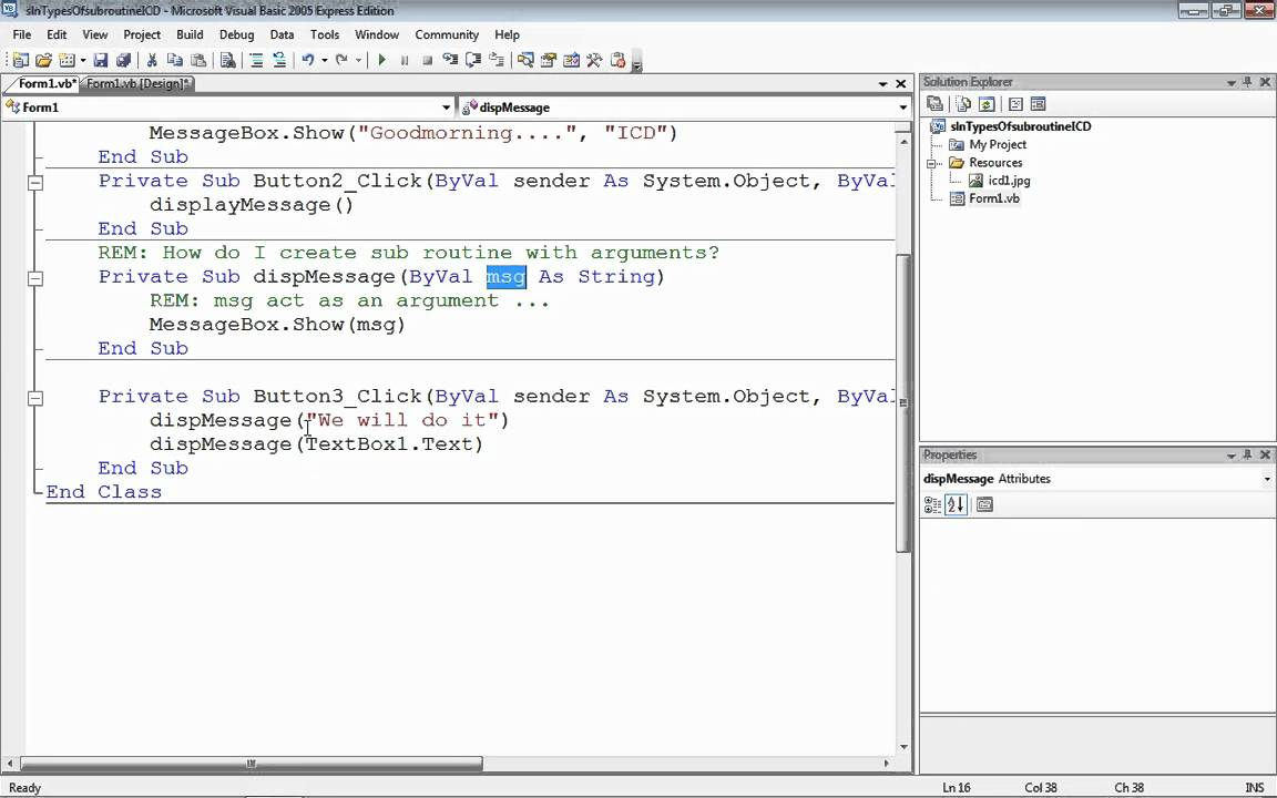 Types of Subroutine - User Defined Subroutine Part -1  VB  NET - ICD