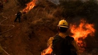 Raw: Wildfire Forces Evacuations East of LA