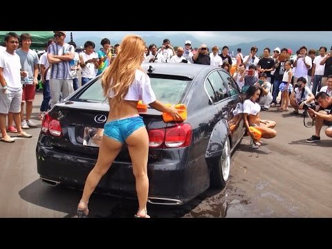 【君島かれん Reina カーウォッシュ①】 Wreckin MEET2016 Go Go Dancers Lowered exhaust Low car