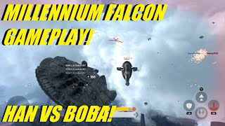 star wars battlefront han solo vs boba fett   millennium falcon gameplay how to get