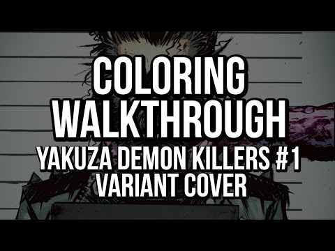 Coloring walk-through: Yakuza Demon Killers #1 variant cover for IDW Publishing