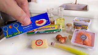SALMON PASTA MINI  REAL FOOD COOKING IN FUNCTIONAL MINIATURE KITCHEN SET   ASMR COOKING