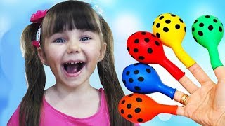 Learn Colors with Balloons Finger Family Song and Baby Smile for Kids Babies