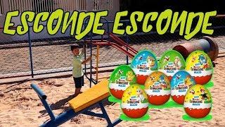 Crianças brincam de caça aos ovos no parquinho | Kids Pretend Play Hide and Seek