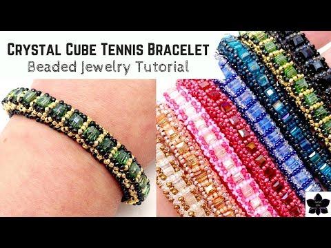 Crystal Cube Tennis Bracelet   Beaded Jewelry Making Tutorial   Beadweaving Pattern   Seed Beads