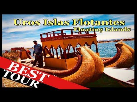 Uros Islas Flotante Puno Peru. Floating Island in Lake Titicaca Peru.