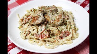 Grilled Pork & Sundried Tomato Alfredo - I Heart Recipes