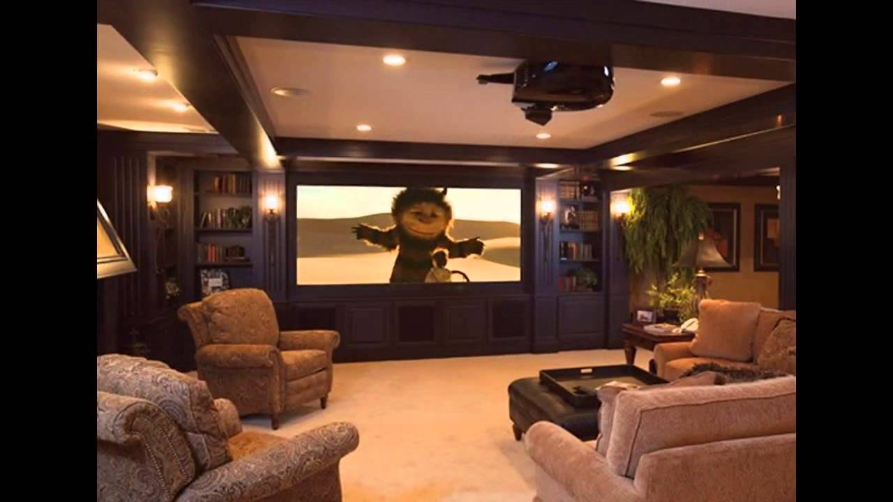 Basement home theater design and decorations - YouTube