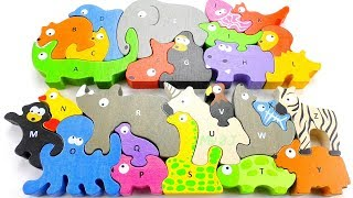ABC SONG for Children Learn Alphabet with Colors Animals Names Wooden Toys ABC Puzzle Learn Colors