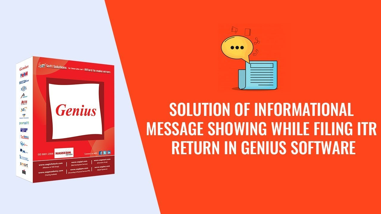 Solution of Informational Message Showing While Filing ITR Return in Genius  Software