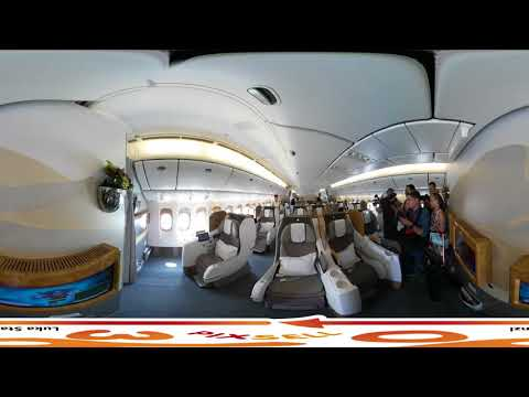 360 VIDEO  Inside the Emirates . Amazing Luxury Jet Airliner HD