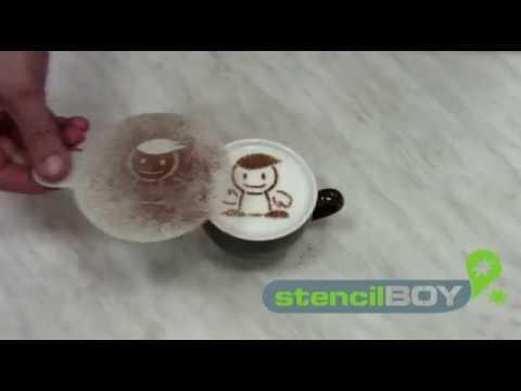 1 x 16pcs//set Coffee Stencil Edelstahl-Schokoladen-Shaker-Kakaomehl-Kaffee-Sieb-Kunst-Schablonen-Formen f/ür das K/üchen-Backen-Kochen