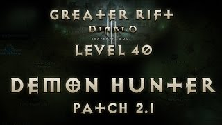 Diablo 3 Reaper of Souls Physical Demon Hunter Greater Rift Level 40 (Solo) Patch 2.1 EU Live