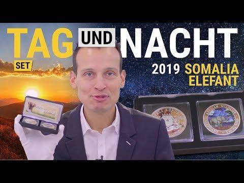 Silber Somalia Elefant - Tag & Nacht Set 2019 - 500 Stück