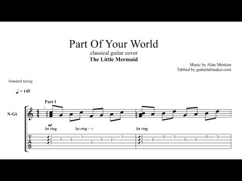 Part of Your World TAB - fingerstyle classical guitar tab - PDF - Guitar Pro