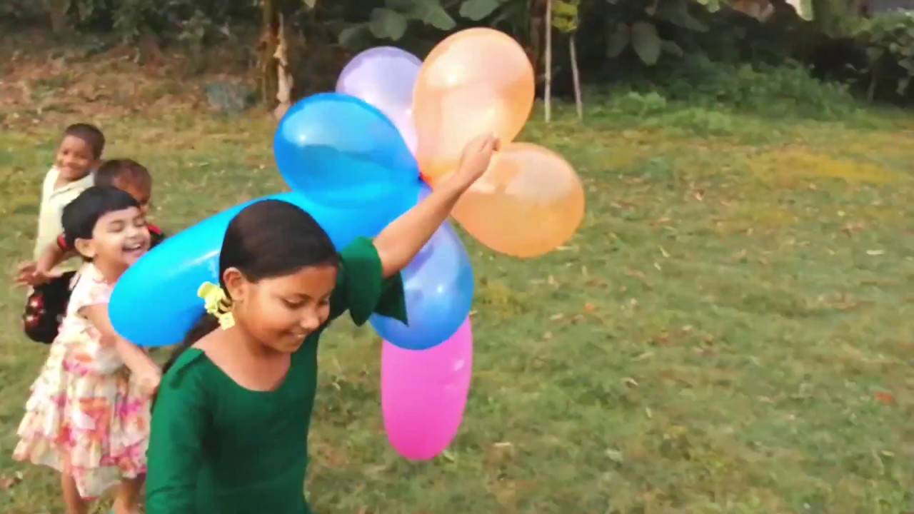 Outdoor fun with flower balloon and learn colors for kids | i kids | Part 09