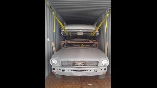 Loading classic cars and parts in container