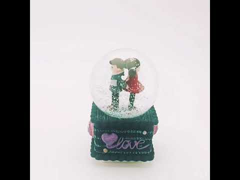 16 CM Music Box Crystal Ball Music Snow Glitter Water Globe Plays Tune the Music