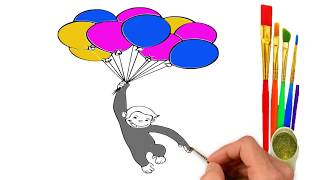 How To Draw & Coloring A Funny Monkey With Balloons | Kids Coloring Pages | Learn With Fun |