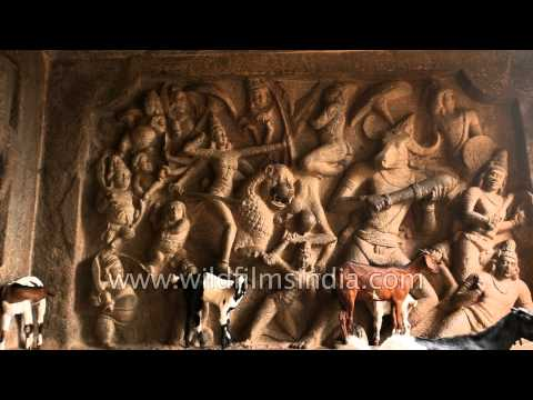 Wall depicts battle between Mahisa and Durga in Mahisamardini cave
