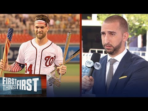 Nick Wright reacts to Bryce Harper's epic HR Derby comeback win | MLB | FIRST THINGS FIRST
