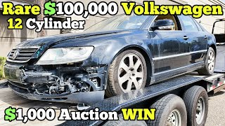 I Bought a Totaled Volkswagen Phaeton W12 at Auction for $1,000! Then a Forklift SMASHED Into It!