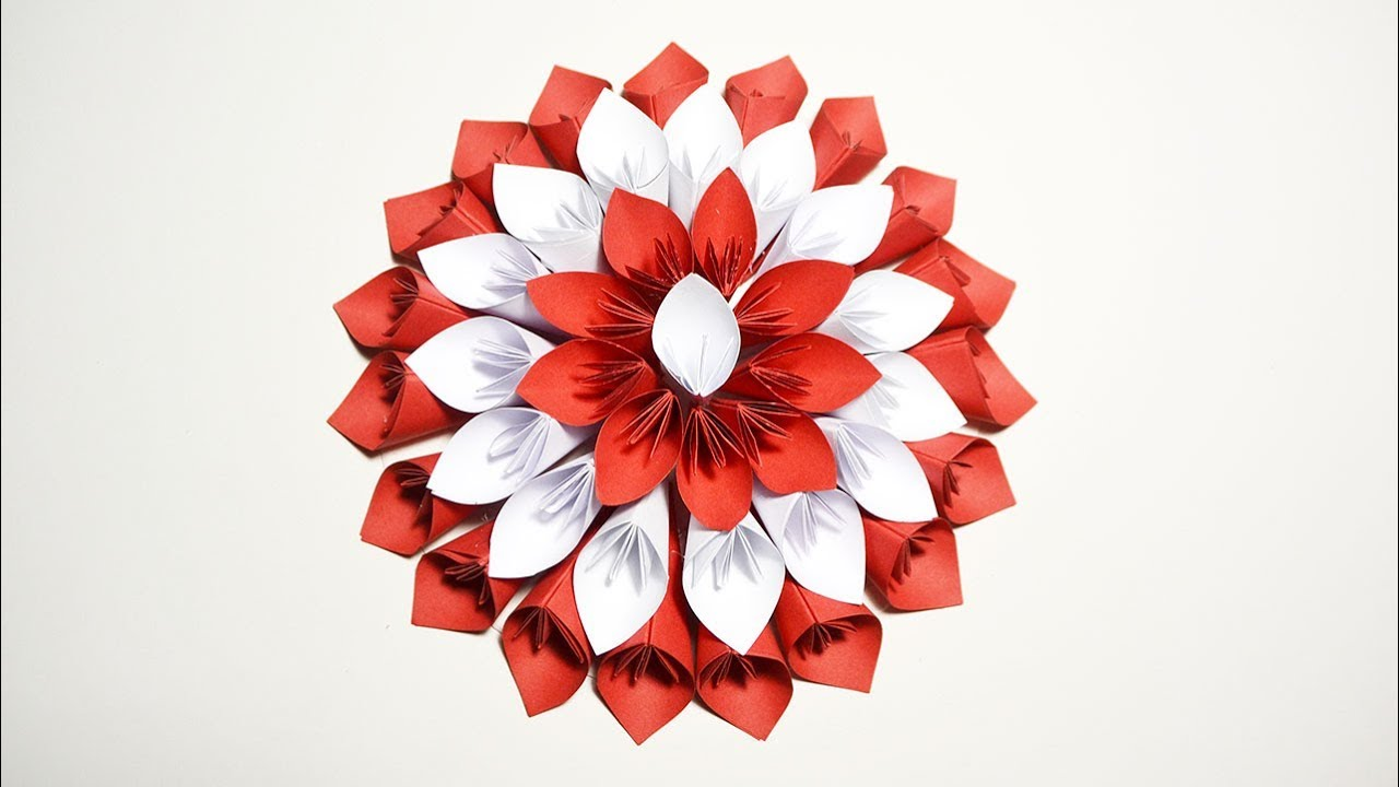 Big Flower Red and White for Wedding Decoration Paper Origami Tutorial DIY