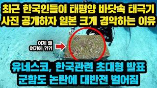 최근 한국인들이 태평양 바닷속 태극기 사진 공개하자 일…