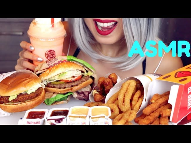 Asmr Eating Burger King Fried Chicken Onion Rings Cheese Sticks