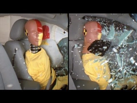 CRASH TEST AUTO: Side-impact Crash Test Demonstrating The Benefits Of Side Airbags