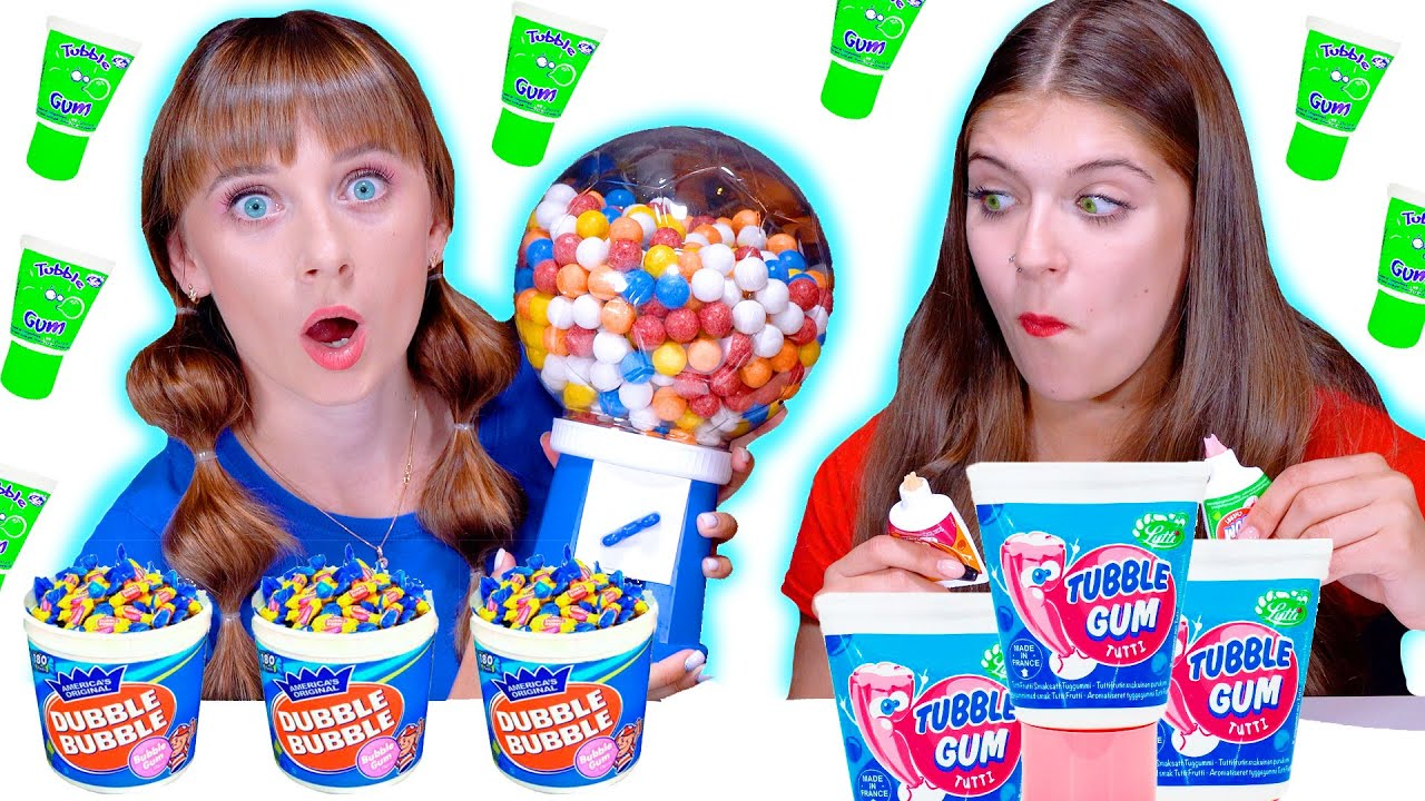 ASMR Bubble Gum VS Real Food Challenge By LiLiBu