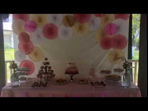 Abanicos de papel decoraci n bautizo youtube for Decoracion con abanicos