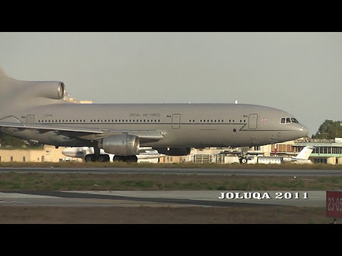 Tristar of the R.A.F. visiting Luqa Airport on 24-9-2011. HD.