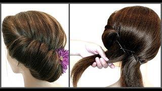 Легкий способ вечерней прически на короткие волосы.Easy way to evening hairstyles for short hair.