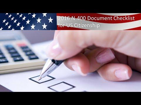 N400: U.S. Citizenship N-400 Document Checklist