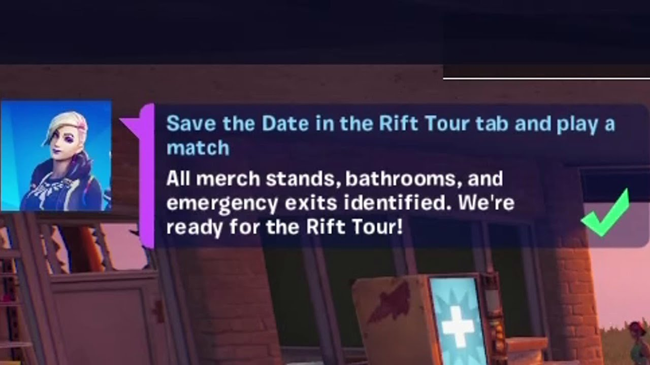 Download Save the Date in the Rift Tour tab and play a match Fortnite
