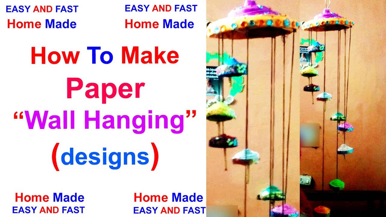 Wall hanging with waste paper newspaper wind chime for Waste paper wall hanging