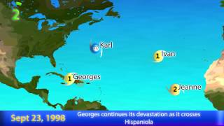 1998 Atlantic Hurricane Season Animation (Version 2)