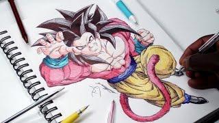 INKTOBER DAY 9 - Drawing Goku Super Saiyan 4 - DeMoose Art