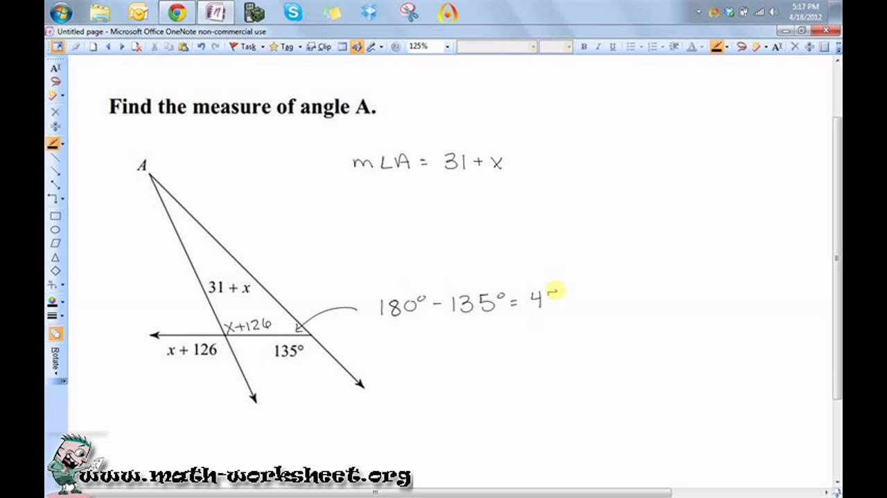Triangle angle sum Worksheets – Triangle Angle Sum Worksheet