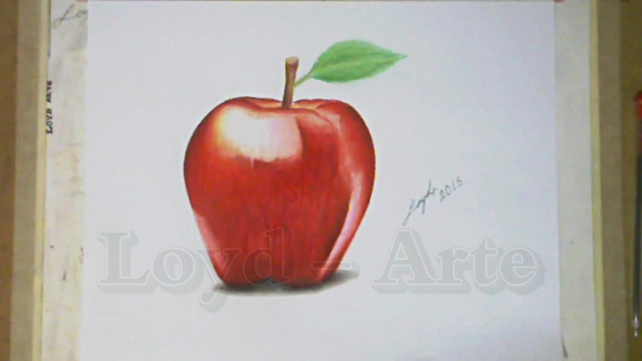Manzana Roja Dibujo realista - Red Apple Time Lapse Draw - YouTube