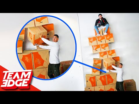 Don't Let Your Teammate Fall from the GIANT Box Wall!!